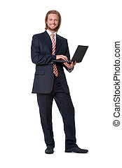 Young businessman with digital touch tablet