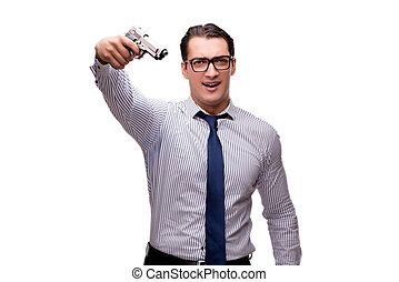 Young businessman with gun isolated on white