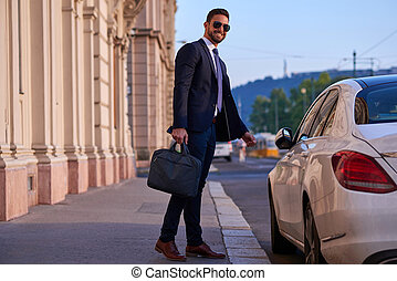 Young businessman with his car