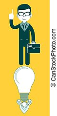Young businessman with ideas-vector