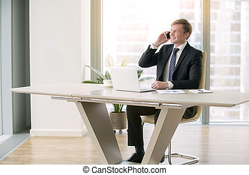 Young businessman with laptop at the modern desk
