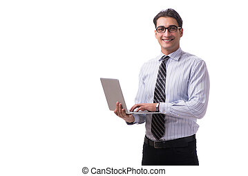 Young businessman with laptop isolated on white background