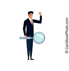 young businessman with magnifying glass