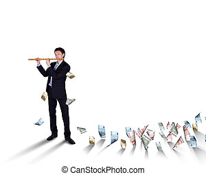 Young businessman with many banknotes