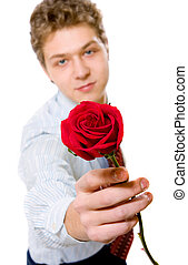 young businessman with red rose