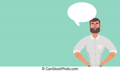 young businessman with speech bubble