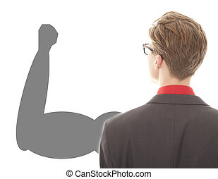 Young businessman with strong powerful arm on white background