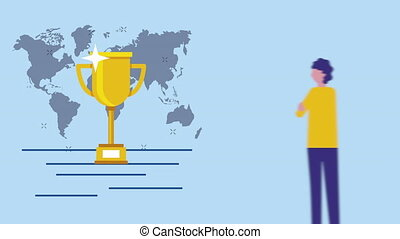 young businessman with trophy and maps character animation