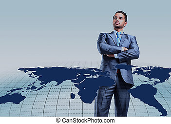 Young businessman with world map.