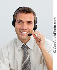 Young businessman working in a call center
