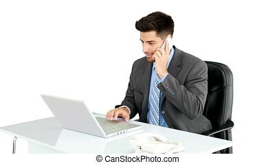 Young businessman working