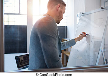 Young businessman writing on a whiteboard in an office