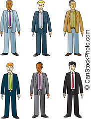 Young Businessmen - Six different cartoon twenty to thirty...