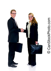 Handsome successful young businesspeople in suit with briefcase, studio shot.