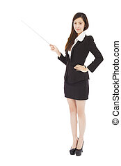young businesswoman holding a baton to point