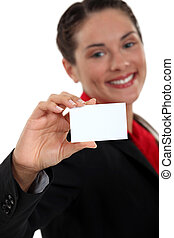 young businesswoman holding business card