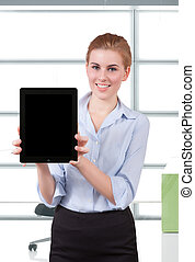 Young Businesswoman Holding Digital Tablet