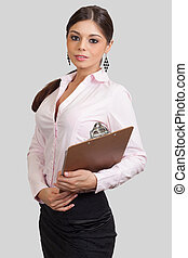 young businesswoman holding documents on a clipboard