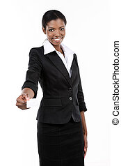 Young businesswoman holding white business card