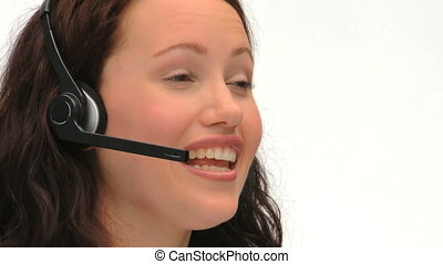 Young businesswoman in a call cente