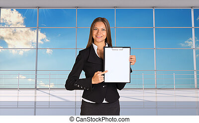 Young businesswoman in black suit