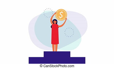 young businesswoman in the podium with money ,4k video animation