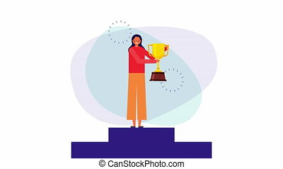 young businesswoman in the podium with trophy ,4k video animation