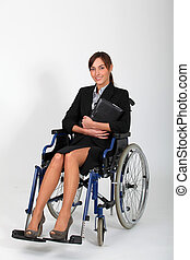 Young businesswoman in wheelchair