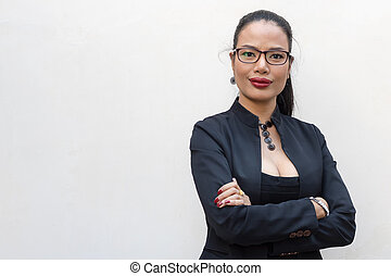 Young businesswoman isolate on a white
