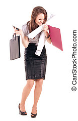 Young Businesswoman isolated on a white background