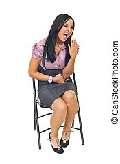 Young businesswoman laughing out loud