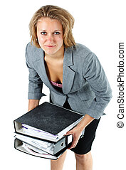 Young businesswoman lifting notepads