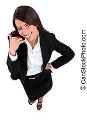 Young businesswoman mobile telephone gesture with hand
