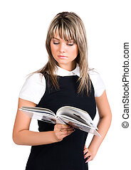 Young businesswoman reading book