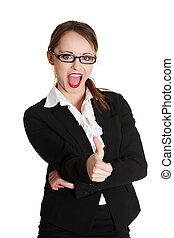 Young businesswoman showing ok sign.