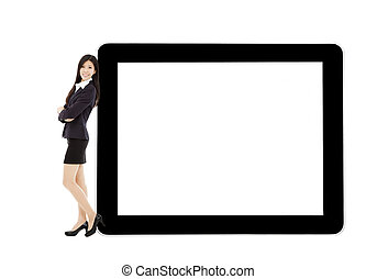 young businesswoman standing with tablet and blank screen