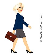 full length side view of a young blonde businesswoman with briefcase walking forward while looking into the camera