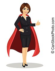 young businesswoman wearing superhero costume showing thumbs up