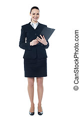 Young businesswoman with a document folder