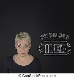 Young businesswoman with big business idea
