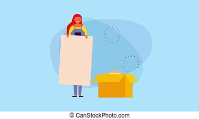 young businesswoman with bitcoin in box ,4k video animation