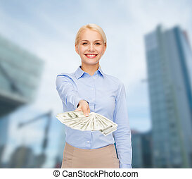 young businesswoman with dollar cash money - business and...