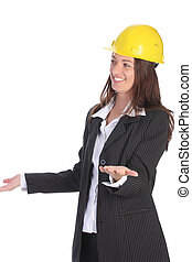 young businesswoman with helmet