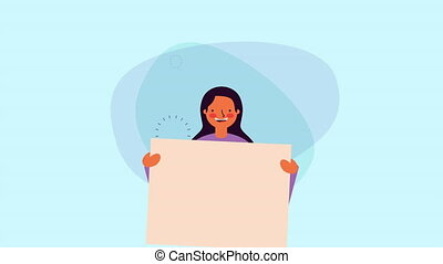young businesswoman with information banner