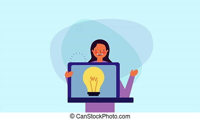 young businesswoman with laptop and bulb