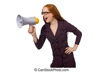 Young businesswoman with loudspeaker on white