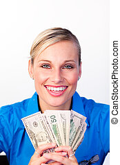 Young businesswoman with money