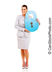 young businesswoman with paper lock