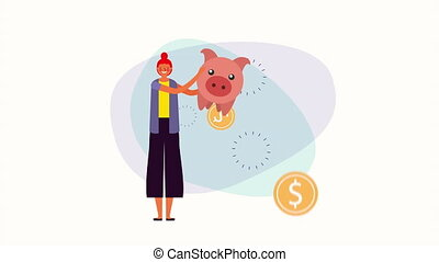 young businesswoman with piggy savings money ,4k video...