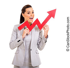 young businesswoman with red growth arrow